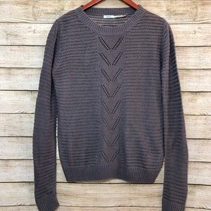Kimchi Blue Open Knit Pullover Sweater Grey Size M